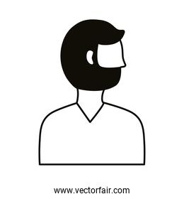 young man with beard profile avatar character line style icon