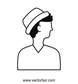 young man profile with hat avatar character line style icon