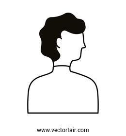 young man profile avatar character line style icon