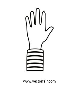afro hand human up line style icon
