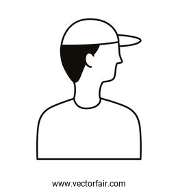 young man profile with sport cap avatar character line style icon