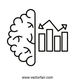 brain human with statistics bars line style icon