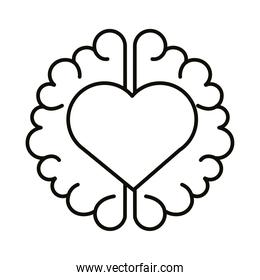 brain human with heart line style icon