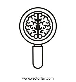 brain human with magnifying glass line style icon
