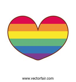 heart love with stripes gay flag line and fill style icon