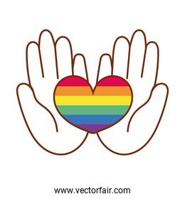hands lifting heart love with stripes gay flag line and fill style icon