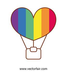 balloon heart air hot gay flag line and fill style icon