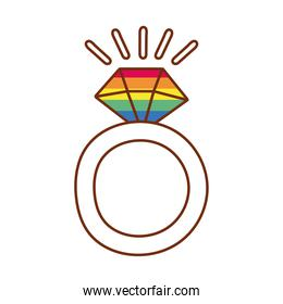ring with diamond gay flag line and fill style icon