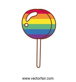 sweet lollipop gay flag line and fill style icon