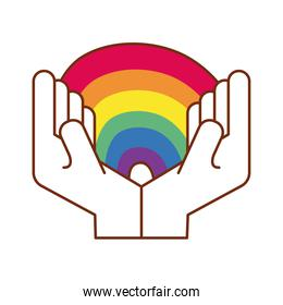 hands lifting cute rainbow gay flag line and fill style icon
