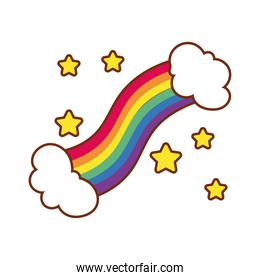 cute rainbow with stars gay flag line and fill style icon