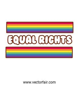lgbtiq community flag with equal rights lettering gay flag line and fill style icon
