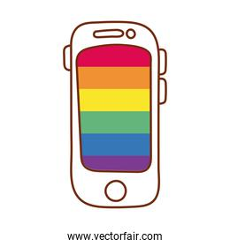 smartphone with stripes gay flag line and fill style icon