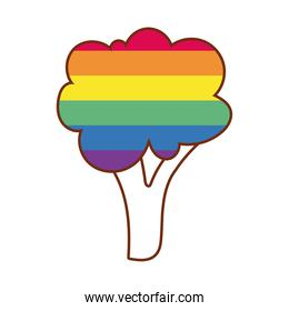tree with stripes gay flag line and fill style icon