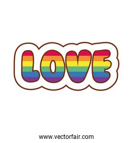 love word with lgbtiq flag gay flag line and fill style icon