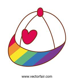 heart love in cap with stripes gay flag line and fill style icon