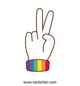 hand with peace and love symbol gay flag line and fill style icon