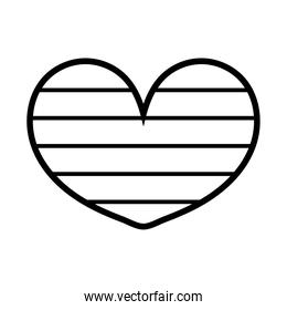 heart love with stripes line style icon