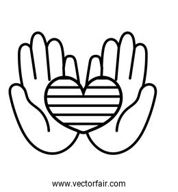 hands lifting heart love with stripes line style icon