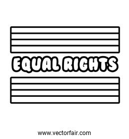 lgbtiq community flag with equal rights lettering line style icon