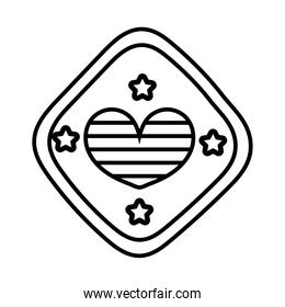heart love with stripes in traffic signal line style icon