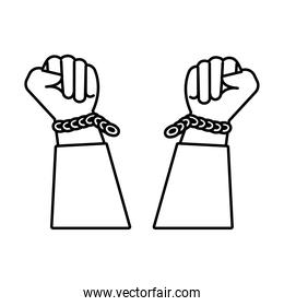 hands human broken slave chains line style icon
