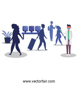 male doctor holding thermometer gun checking people at airport vector design