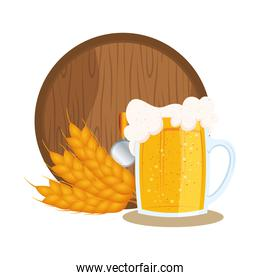 Isolated glass of beer and barrel vector design