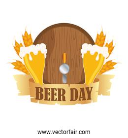 glasses and barrel with beer day ribbon vector design