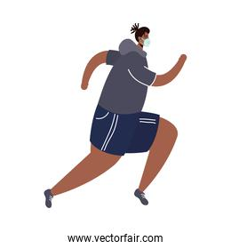 young afro man wearing medical mask running avatar character