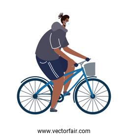young afro man wearing medical mask in bicycle character