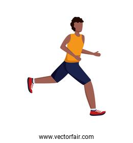 young afro man running avatar character