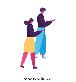 young couple walking and using smartphones avatars characters