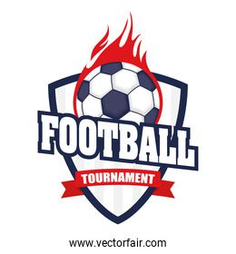 football soccer sport poster with shield and balloon on fire