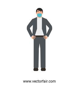 businessman wearing medical mask character