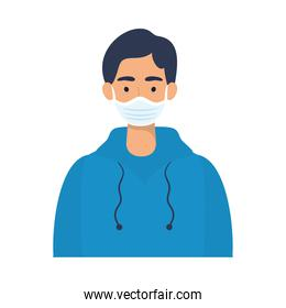 young man wearing medical mask character