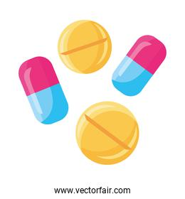 medicine capsules and pills drugs isolated icon