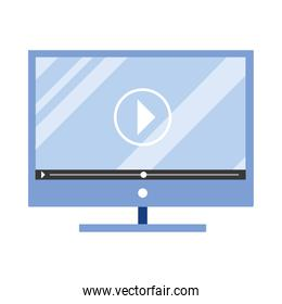 desktop computer with media player technology isolated icon