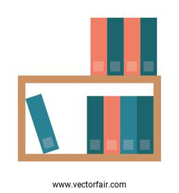 shelf with text books isolated icon