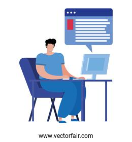 young man using desktop connecting technology character