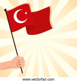 hand waving turkey flag country isolated icon