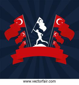 soldier with turkey flag country isolated icon