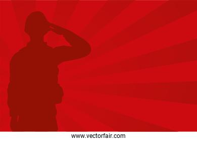 military soldier silhouette in red background