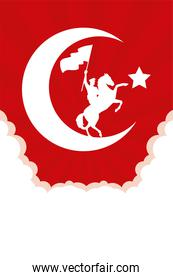 military soldier waving flag in horse turkey celebration