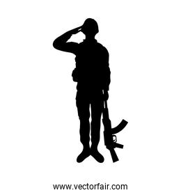 military soldier silhouette with rifle isolated icon