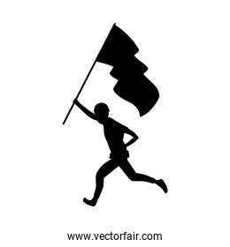 military soldier running with flag silhouette