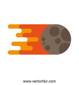meteorite onfire space isolated icon