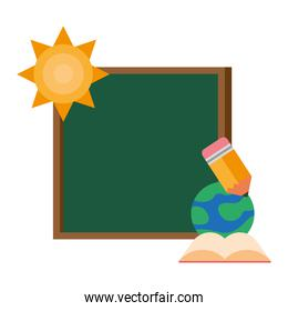 chalkboard school with sun and supplies