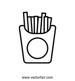 french fries box icon, line style