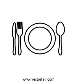 dish and cutlery icon, line style